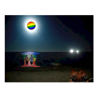 Lovers Under the Gay Pride Moon Postcard