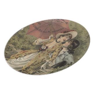 Lovers Under Umbrella Melamine Plate