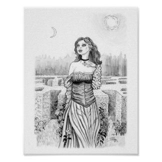 Lover's Witch in Garden Poster