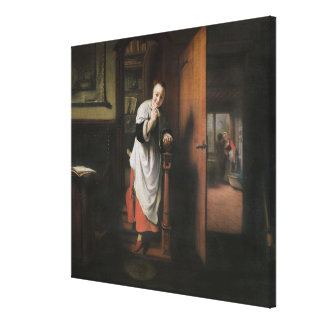 Lovers with a Woman Listening Canvas Print