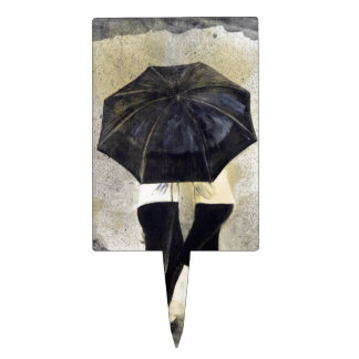 Lovers with umbrella in rain cake pick