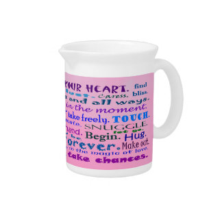 lover's word collage pitcher