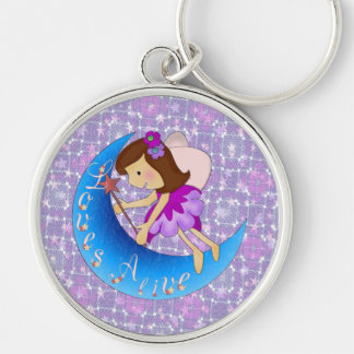 Loves Alive Silver-Colored Round Keychain