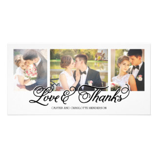 Loves and Thanks Black Script 3-Photo Card