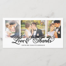 Loves and Thanks Black Script 3-Photo Thank You Card