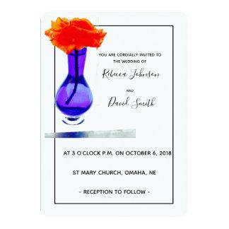 Love's apricot rose modern wedding invitation