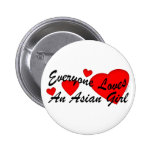 Loves Asian Girl Button