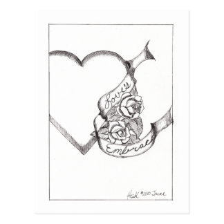Love's Embrace Ink Drawing Postcard