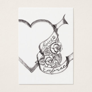 Love's Embrace Pen and Ink Business Card