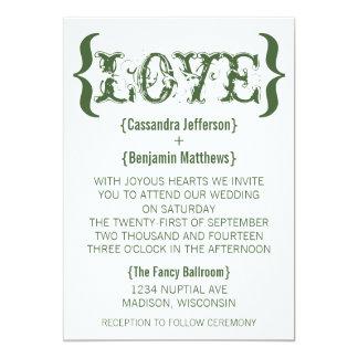 Love's Embrace Wedding Invitation, Dark Green Card