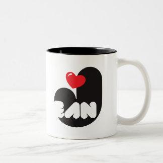 Loves JEAN Coffee Cup Taza De Dos Tonos