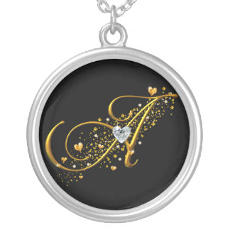 Love's Magic A inital Round Pendant Necklace