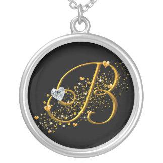 Love's Magic B Inital Round Pendant Necklace