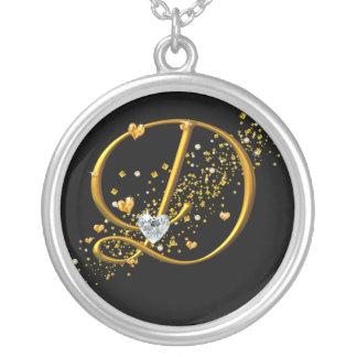 Love's Magic D inital Round Pendant Necklace
