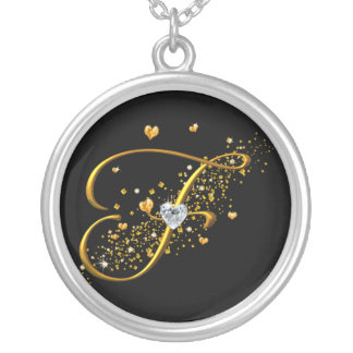 Love's Magic F inital Round Pendant Necklace