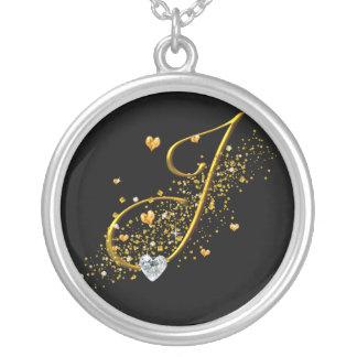 Love's Magic J Inital Round Pendant Necklace