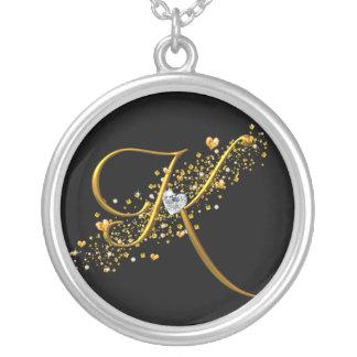 Love's Magic K Inital Round Pendant Necklace