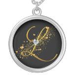 Love's Magic L Initial Round Pendant Necklace