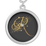 Love's Magic R Initial Round Pendant Necklace