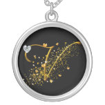 Love's Magic V Initial Round Pendant Necklace