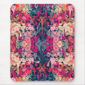 Loves me Maybe, melting floral pattern Mouse Pad