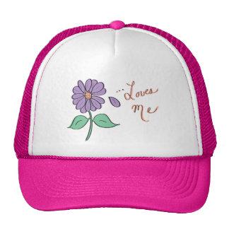 Loves Me Purple Flower Petal Trucker Hats