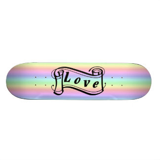 Loves scroll on rainbow skateboard