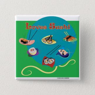 Loves sushi pinback button