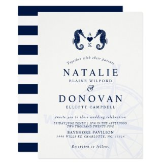 Love's Tide | Dual Seahorse Themed Wedding Invitation