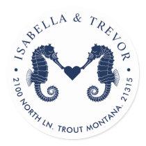 Love's Tide | Dual Seahorse White Return Address Classic Round Sticker