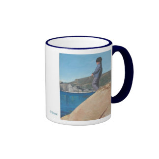 Loves to Fish Ringer Coffee Mug
