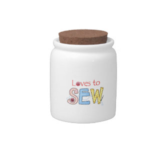 LOVES TO SEW CANDY JAR