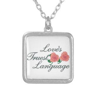 Love's Truest Language Square Pendant Necklace