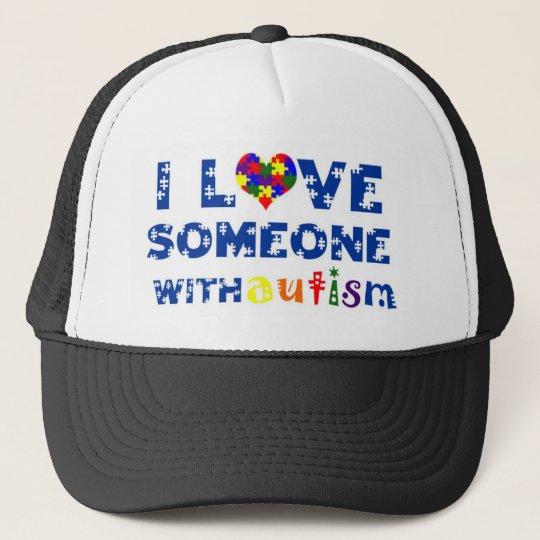 lovesomeonewithautism1 trucker hat