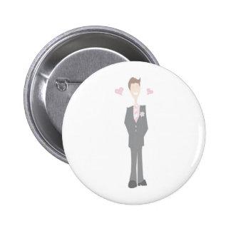 Lovestruck Cartoon Groom 2 Inch Round Button