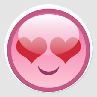 Lovestruck Happy Face Classic Round Sticker