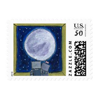 Lovestruck Moon-Gazing Robots Stamp