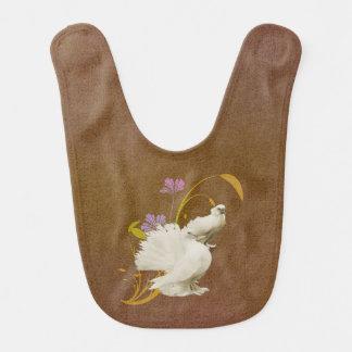 Lovey Doves & Flowers Baby Bib