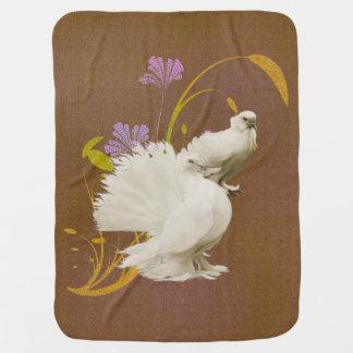 Lovey Doves & Flowers Baby Blanket