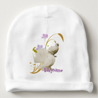 Lovey Doves & Flowers Personalized Baby Beanie