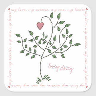 lovey dovey Square Stickers