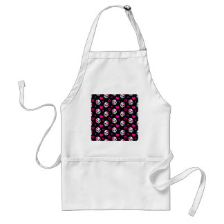 Lovey Goth Skulls in Bright Pink Adult Apron