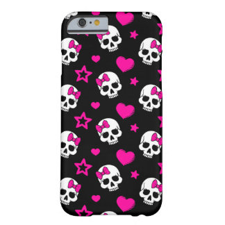 Lovey Goth Skulls in Bright Pink Barely There iPhone 6 Case