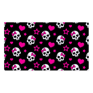 Lovey Goth Skulls in Bright Pink Business Card