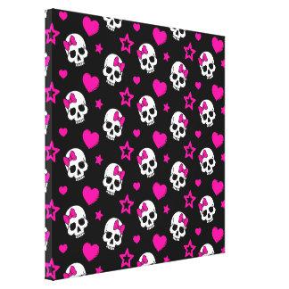 Lovey Goth Skulls in Bright Pink Canvas Print
