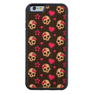 Lovey Goth Skulls in Bright Pink Carved® Cherry iPhone 6 Bumper Case