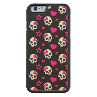 Lovey Goth Skulls in Bright Pink Carved® Maple iPhone 6 Bumper