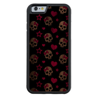 Lovey Goth Skulls in Bright Pink Carved® Walnut iPhone 6 Bumper Case