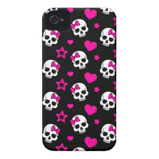 Lovey Goth Skulls in Bright Pink Case-Mate iPhone 4 Case