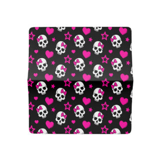Lovey Goth Skulls in Bright Pink Checkbook Cover